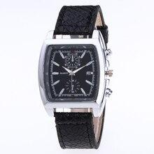 Relojes de cuero con esfera plateada para hombre, relojes de moda de negocios, relojes de simulación de cuarzo, calendario completo, reloj masculino