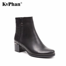 KvPhan Women Boots 2017 Fashion Shoes Woman Genuine Leather Wedges Ankle Boots Winter Casual Snow Boots Med Heels Women Shoes