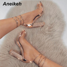 Aneikeh PVC Women Heeled Sandals Bandage Rhinestone Ankle Strap Pumps Super High