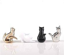 Silver Gold Cat Drawer Pull Knob Unique Cabinet Handles Pulls Black White Dresser Knobs Door Pull Knob Modern Cupboard Hardware