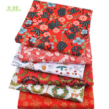 Chainho,6pcs/lot,Red Floral Series,Twill Cotton Fabric,Patchwork Cloth,DIY Sewing&Quilting Fat Quarters Material For Baby&Child(China)