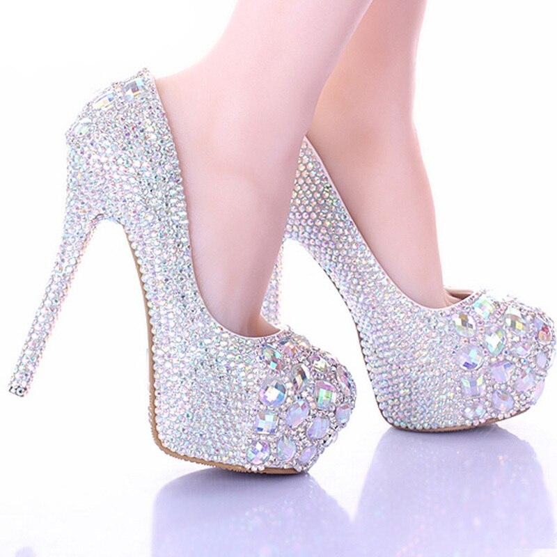 Luxury Sparkly Stiletto Heel Wedding Shoes Crystal Bride Formal Dress Platform Rhinestone Party Prom Heels 10 12 14cm In Women S Pumps From On