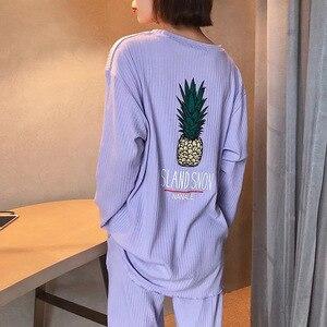 Image 5 - Conjunto de pijama de primavera para mujer, ropa de dormir bonita con piña impresa, de manga larga con cuello redondo, ropa informal holgada