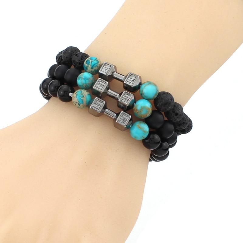 52a62e11f Homens dumbbell preto lava pedra frisados pulseiras   bangles new fashion  multicolor barbell pulseiras para as mulheres de jóias por atacado