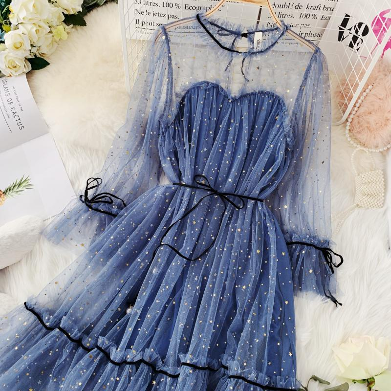 HISUMA spring autumn new women Star sequins gauze flare sleeve lace-up Princess dress female elegant o-neck mesh puff dresses 37