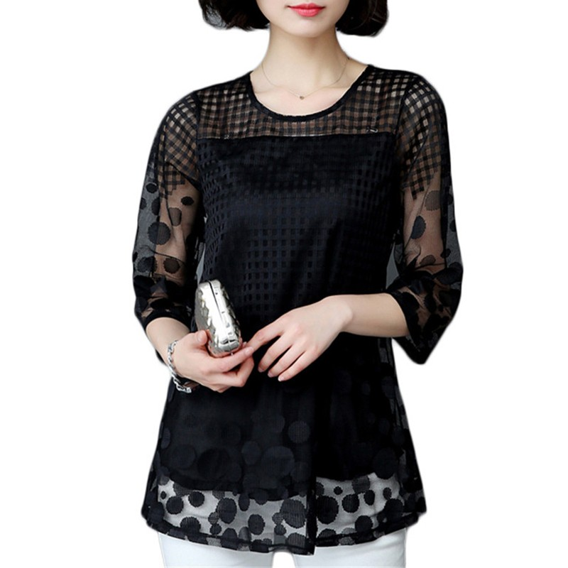 HTB1c42yOpXXXXbdaXXXq6xXFXXXs - 5XL Women Fashion Elegant Lace Blouse Shirt Chiffon 3/4 Sleeve