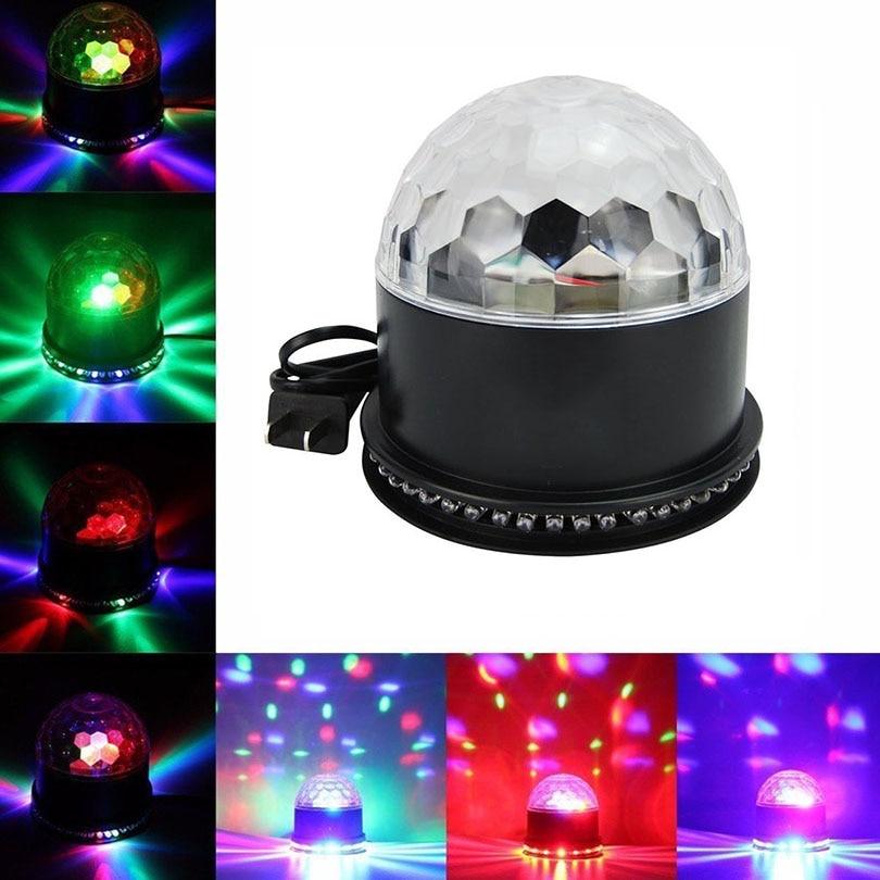 12W RGB Sound Actived Auto Rotating LED Music Stage Lights Disco Strobe Light Crystal Magic Ball Light for DJ KTV Xmas Wedding aosl w883 5 e27 8w 640lm 7 led rgb white auto rotating crystal stage light white ac85 260v
