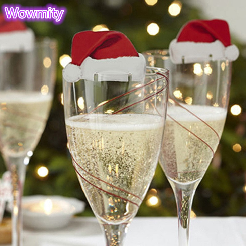 10pcs 4X6cm Diy Butterfly Christmas Hat Wine Glass Card Table Name Place  Escort Cup Card Party Wedding Decorations For Home