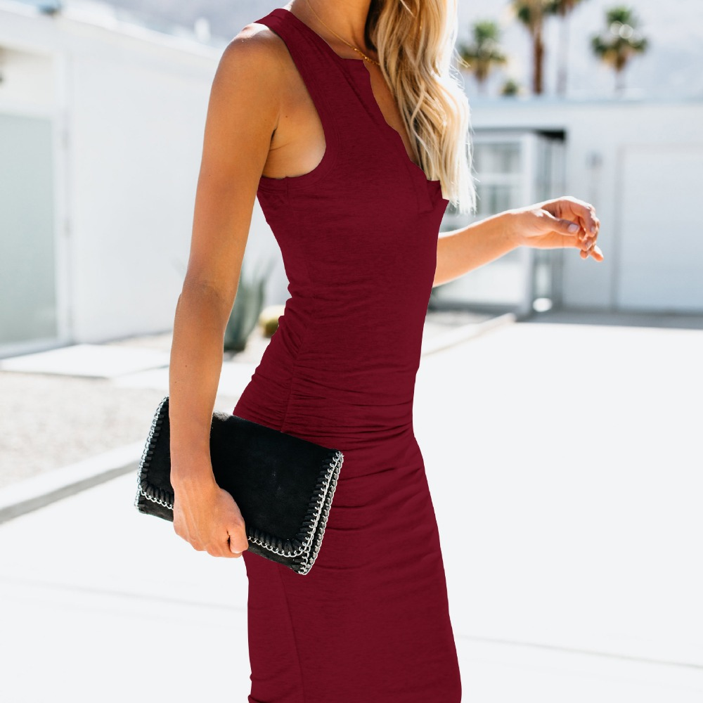 <font><b>Style</b></font> <font><b>2018</b></font> Europe <font><b>style</b></font> <font><b>new</b></font> arrival v-neck solid woman <font><b>dress</b></font> kneee-length <font><b>sexy</b></font> sheath slim <font><b>sleeveless</b></font> hot sale hot female <font><b>dress</b></font> image