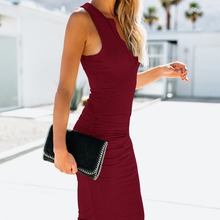Style 2018 Europe style new arrival v-neck solid woman dress kneee-length sexy sheath slim sleeveless hot sale  female