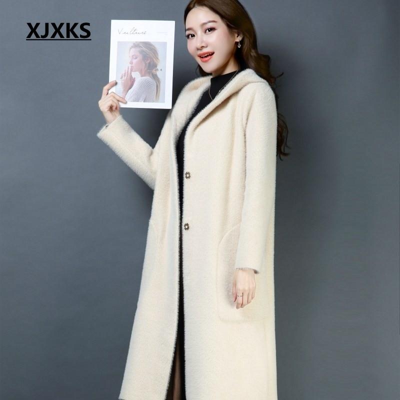 XJXKS แฟชั่นผู้หญิงเสื้อฤดูหนาว 2019 ใหม่มาถึงสีทึบ hooded คุณภาพสูงครอบคลุมปุ่มออกแบบแบรนด์ผู้หญิงเสื้อขนสัตว์-ใน ขนสัตว์และขนสัตว์ผสม จาก เสื้อผ้าสตรี บน   1