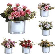 Пластиковый искусственный букет роз Металлический горшок для растений Свадебная вечеринка украшение дома Горячая