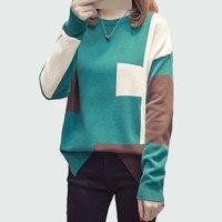 Большой размер Женская мода контрастный цвет вязаный свитер 2018 осень зима женский джемпер свитер и пуловер женский Pull Femme