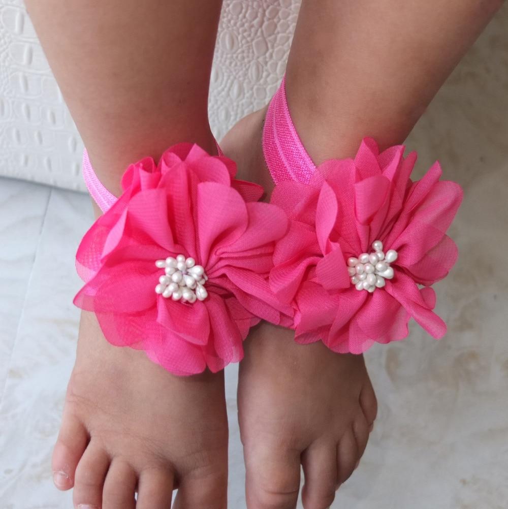 € 1.85 |Accessoires de photographie pieds nus sandale enfants sandale enfants chaussure première marche en mousseline de soie fleur pied