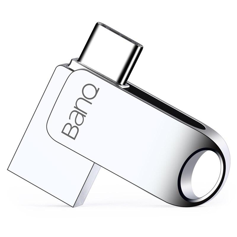 BanQ C6 USB Flash Drive 32 GB OTG de Metal a prueba de Pen Drive clave 64 GB tipo C pendrive Mini Flash drive memoria Stick 16 GB