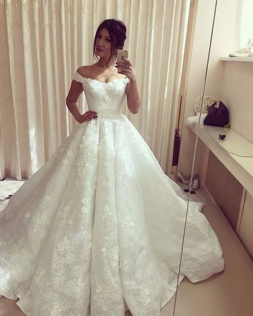 Vestido De Noiva Renda Ball Gown Wedding Dresses Prices In Euros Off The Shoulder Lace