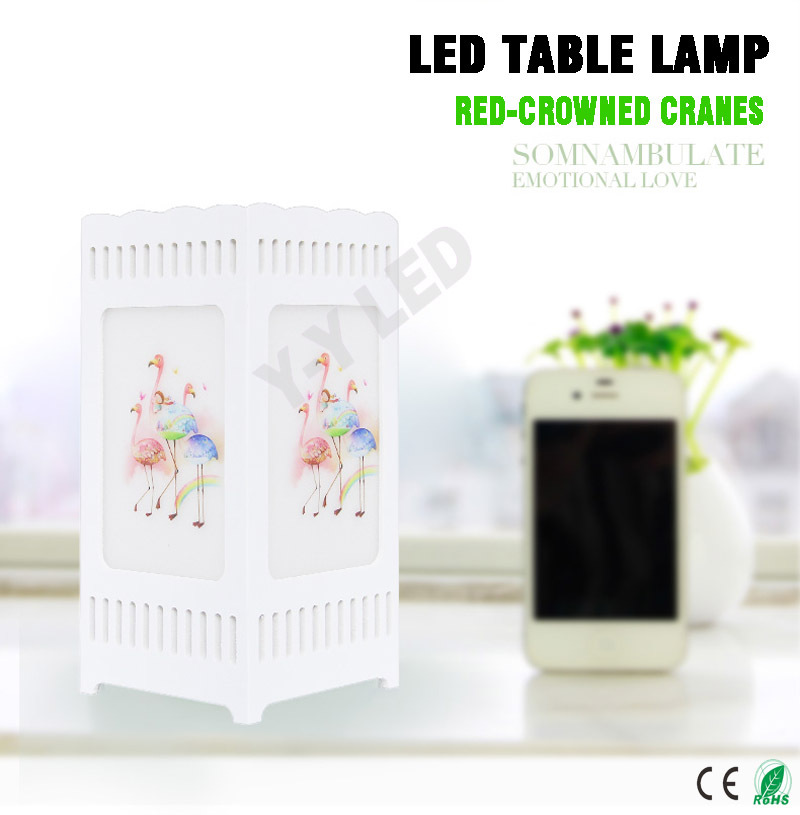 1 pieceslot table lamp redcrowned cranes printing ivory white modern