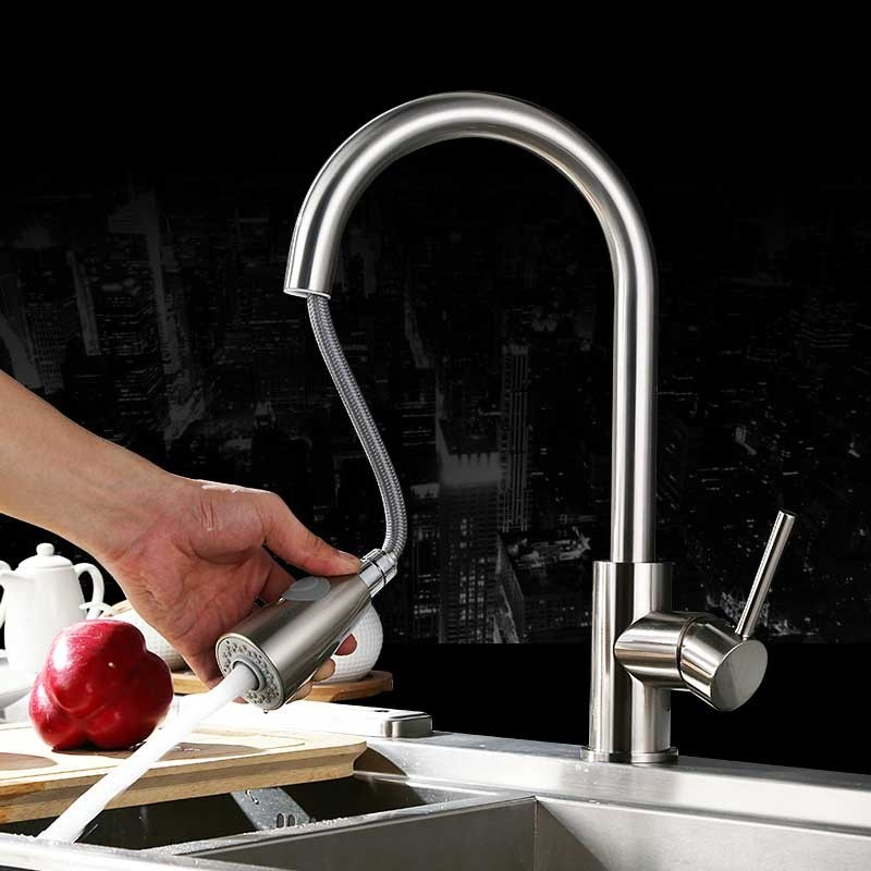 Modren Pull Out Kitchen Spray Mixer Tap Basin Sink Faucet Spout 360Rotation Copper Chrome Mixing Faucet Cold And Hot Sink Faucet contemporary faucet jade and brass copper pull out basin faucet gold sink faucet pull out spray spout hot