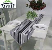 Kalın pamuk kanvas masa koşucu siyah ve beyaz çizgili masa bayrağı ücretsiz kargo