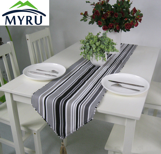 Thick Cotton Canvas Table Runner Black And White Striped Table Flag Free  Shipping(China)