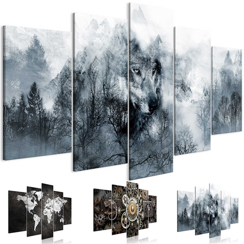 Chinese Style Wall Art  Mountain Predator Canvas Posters Wild Animals Wolf Painting 5 Pieces Pictures for Living Room HD Prints