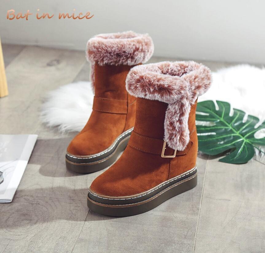 efdeabb086035 2018 G108 Troupeau Chaud Chaussures Neige Femmes Bottes Cheville De Femme  Fourrure Mode Talons Mi D hiver 5ZFZB6WXq