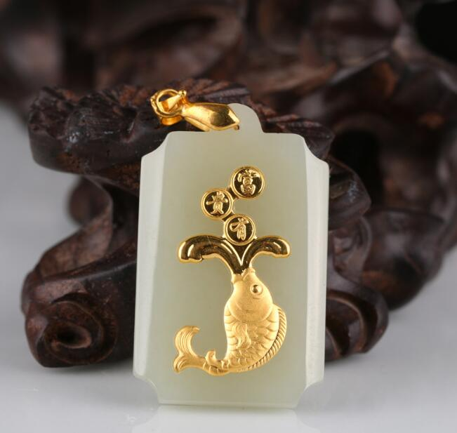 Hot Sales Stylish Fish Jade Pendants For Men Women Discount Necklace Free Shipping(China)