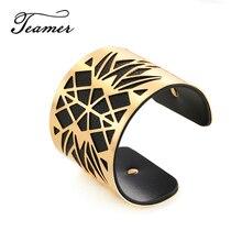 Teamer Cuff Bracelets for Women Gold Silver Hollow Geometric Cuff Bangle Men Black Red PU Leather Wide Bracelet Indian Jewelry hollow out woved cuff bracelet