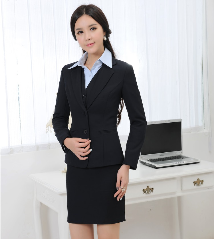 Original Fashion Women Business Skirt Suits White Ruffle Blouse With Black Skirt Plus
