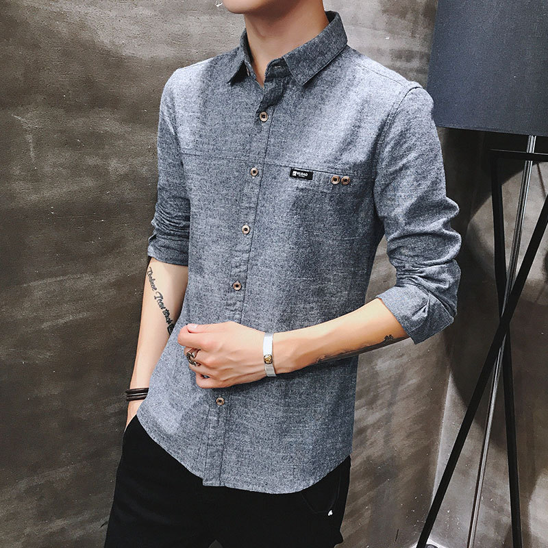 2019 spring new men's shirt Korean version of the self-cultivation youth casual business cotton shirt tide men's boutique shirt 2