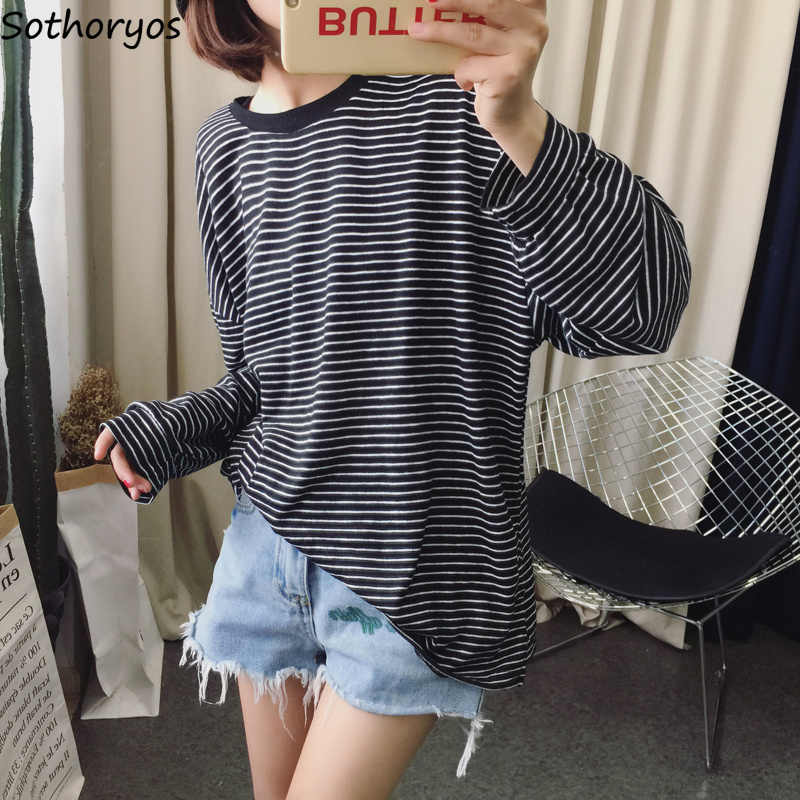 b5545eb7 T-shirts Women 2018 Striped O-Neck Loose Retro Trendy Long Sleeve T Shirt  Student Korean All-match Soft Womens Tops Casual Cute