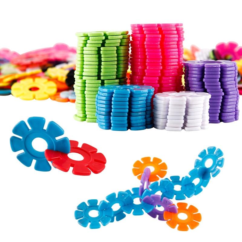 150pcs/pack Multicolor Montessori Snowflake Building Blocks Toy