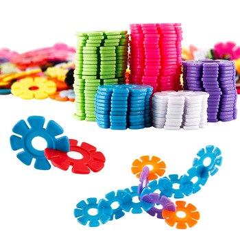 цена на 40Pcs/bag DIY Assembling Snowflake Building Blocks Bricks Early Educational Toys Stimulate Kid's Imagination Kids Legoeings Gift