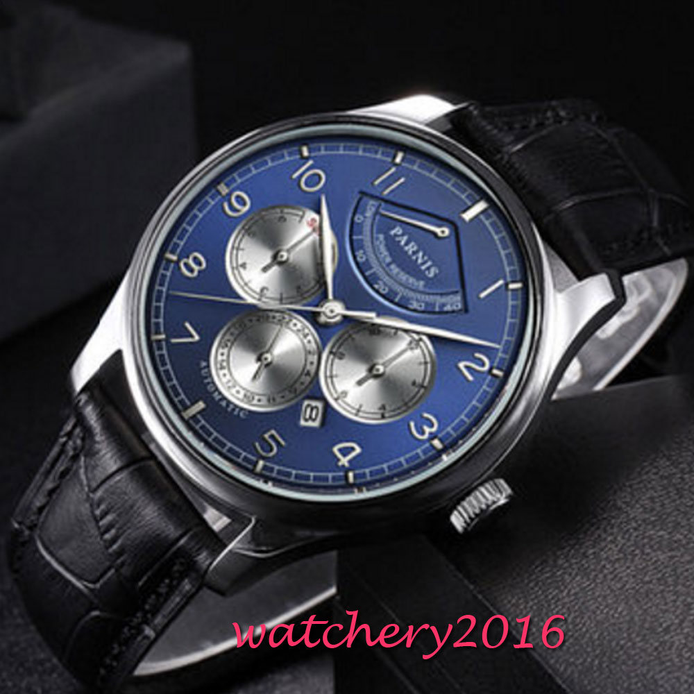 42mm Parnis Blue Dial Moon Phase Power Reserve Watch Men Luxury Brand Top Winder Watch Miyota Automatic movement men's Watch luxury brand 42mm parnis black dial white dial date 24 hour power reserve moon phase miyota 9100 automatic mens wrist watch p560