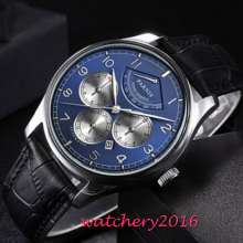 42mm Parnis Blue Dial Moon Phase Power Reserve Watch Men Luxury Brand Top Winder Watch Miyota Automatic movement men's Watch