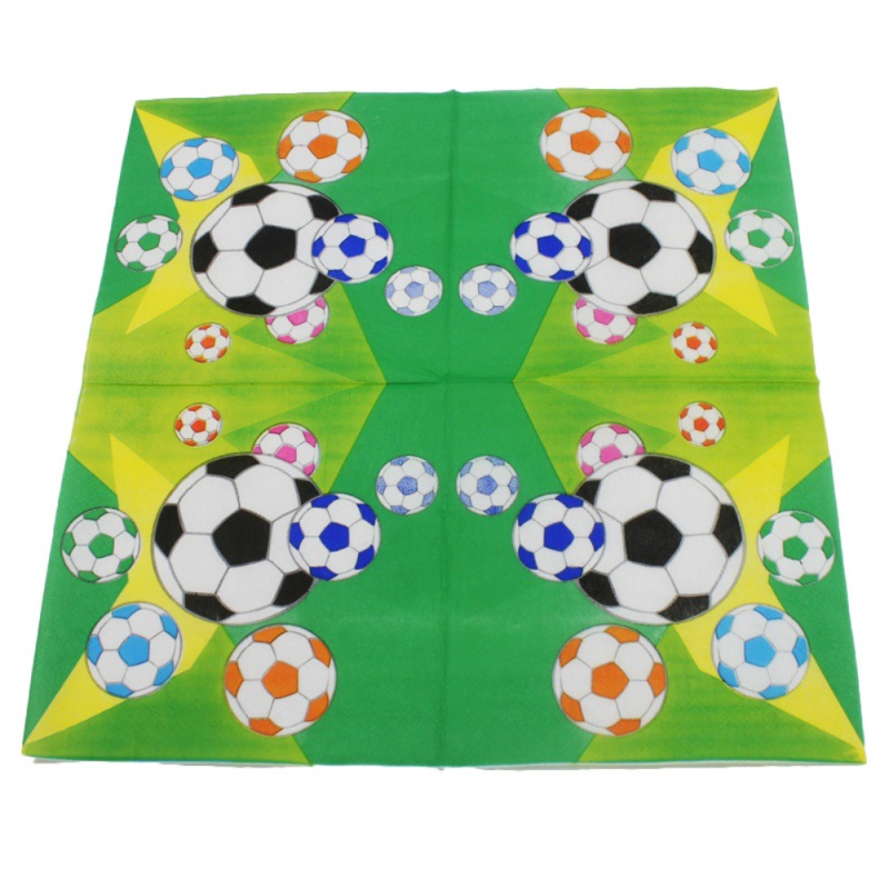 Safe 20pcs/lot Football Napkins Kids Birthday Wedding Party Supplies Football Paper Napkins Happy Birthday Party Decoration new