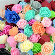 100 pcs PE Foam Roses Head 3 cm Artificial Flowers for Wedding Home Handmade Flower Wreath Decorations Rose Bear of