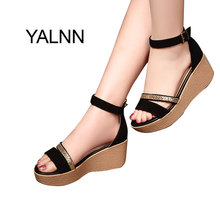 YALNN Women Sandals New Summer Hot Fashion Black Female Trifle Cover Heel Shoes for