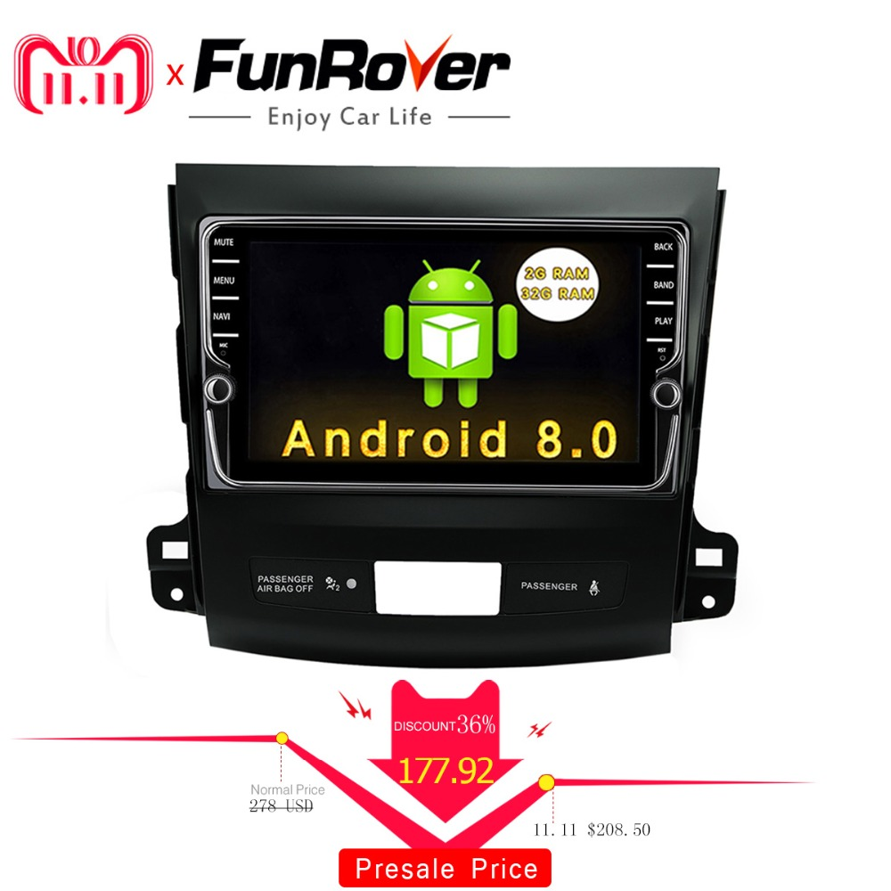 Funrover IPS 8 Android8.0 Voiture dvd GPS Lecteur Radio pour Mitsubishi Outlander 2008-2014 Peugeot 4007 Citroen C -Crosser 2din radio