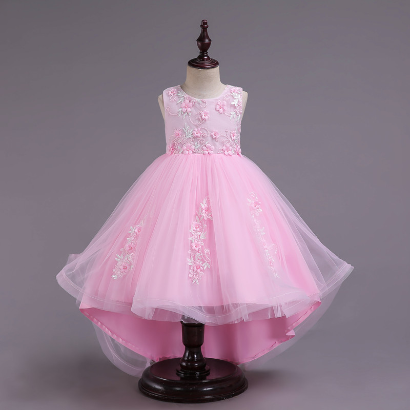 Kids Girls Party Dress Summer long tail Flower Formal Wedding Dresses Girls Princess Ball Gown Vestidos for 2-12Y Girls clothes baby girls red long sleeve full dress ball gown golden flower party wedding special princess kids dresses for girls clothes
