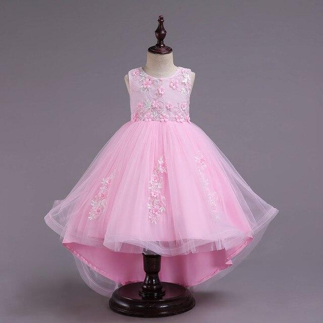 6fc77d37fd Niños Niñas vestido de fiesta verano cola larga flor Formal Vestidos de  novia princesa bola Vestidos