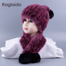 4 10y Girl boys Knitted Real Rabbit Fur Hats Scarves Set Winter Genuine Natural Fur Cap with balls pompom beanies  scarf LQ11260