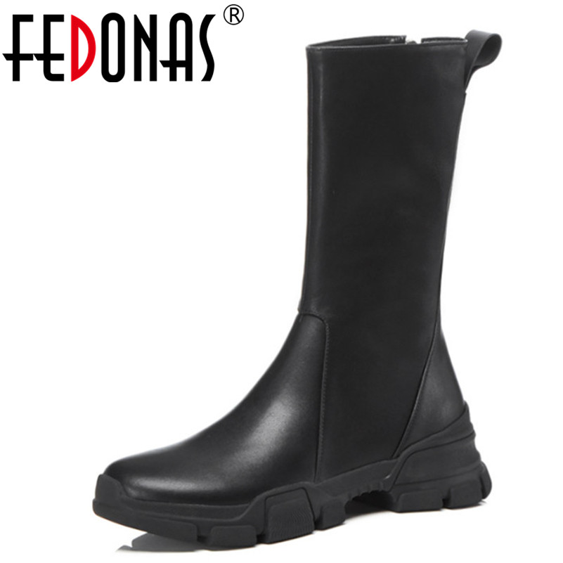 FEDONAS Ladies Mid-calf High Boots Women Genuine Leather Autumn Winter Martin Shoes Woman Platforms Long Punk Motorcycle Boots british design mens casual mid calf martin punk motorcycle high boots rivets spring autumn genuine leather shoes lace up zapatos