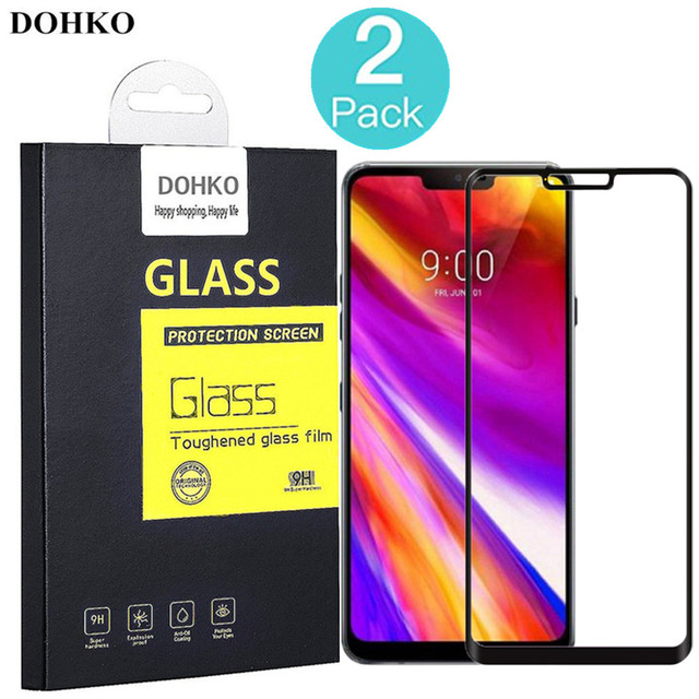2 PACK DOHKO For LG G7 ThinQ Tempered Glass 0.26mm 2.5D Full Adhesive Cover Screen Protector For LG G710 Prime 6.1 inch
