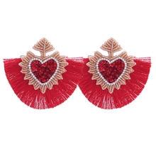 Sehuoran Brand Design Tassel Earrings For Women Beads Handmade Wedding Earrings Statement Fringe Drop Dangle Earrings Wholesale charm fringe design drop earrings