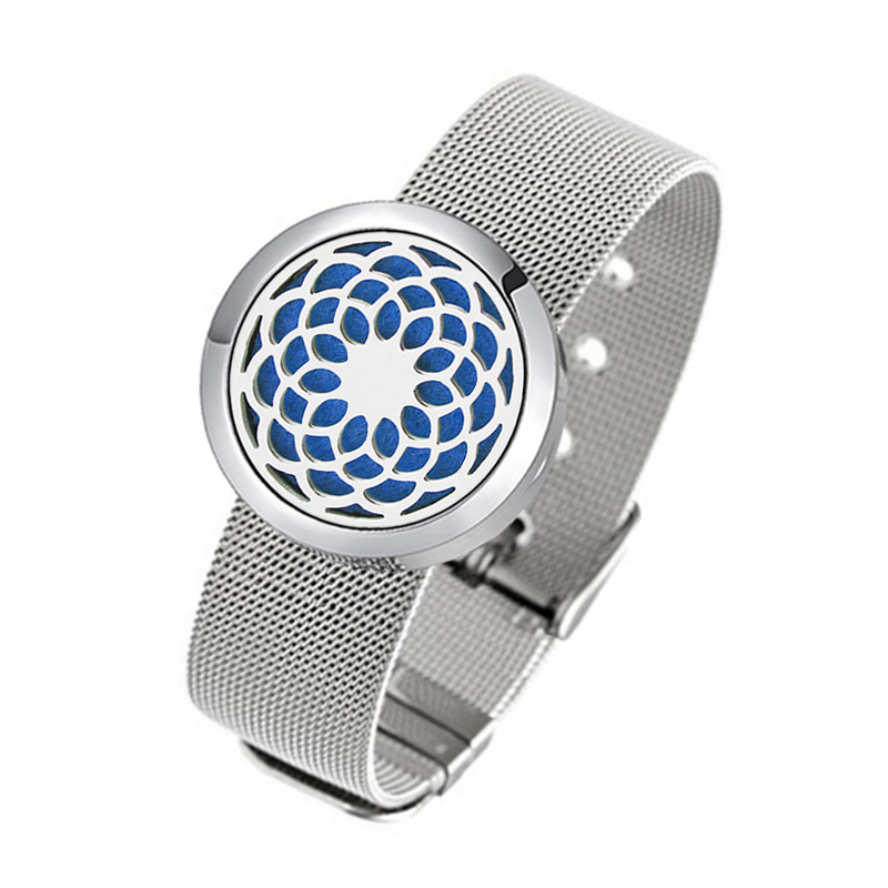 Round Silver (30mm) with Stainless Steel Metal Mesh Band Aromatherapy / Essential Oils Diffuser Locket Bracelet