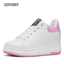 ZENVBNV2017 Autumn Lace-Up Women Casual Shoes Increased Breathable Platform Woman Within Pu Leather Sneakers Zapatos Mujer