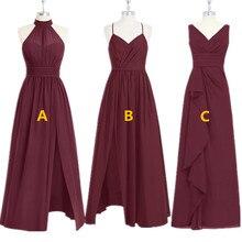 Szata Demoiselle Dhonneur burgundowe sukienki druhen 2020 długa szyfonowa sukienka na wesele kobiety suknia dla gościa weselnego