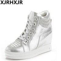 XJRHXJR 8cm Black White Free Ship Hidden Wedge Heels Fashion Women's Elevator Shoes Casual Shoes For Women Wedge Heel Rhinestone
