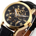 Fashion Brand Design Men Business Clock Stylish Casual Skeleton Steel Wrist Luxury Watch Cool Male Clock + Gift Box